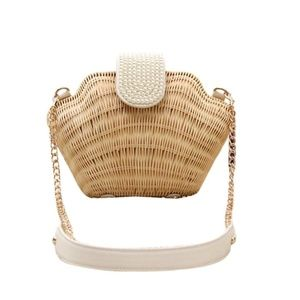 Bronze Times pearl shell weave crossbody bag